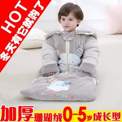 婴儿睡袋秋冬季加厚珊瑚绒新生幼儿纯棉抱被睡衣宝宝儿童防踢被子