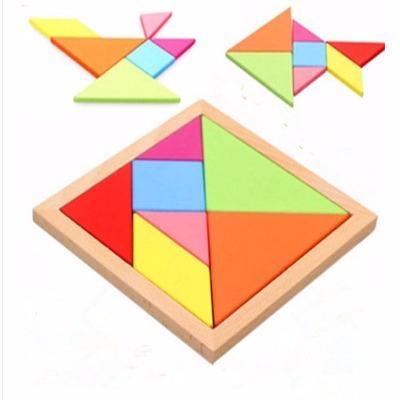 木制大号七巧板智力拼图幼儿园儿童早教益智力拼板宝宝玩具积木 时代