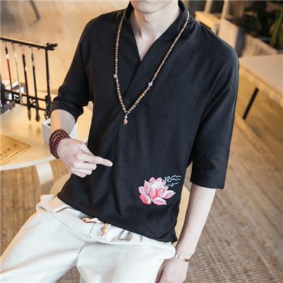 夏季中国风亚麻衬衫男短袖五分袖修身刺绣荷花男士半袖衬衣男装潮
