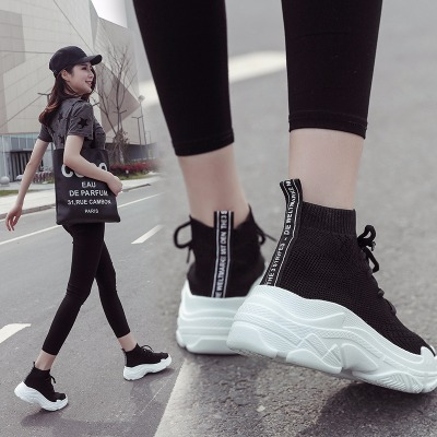 魔术贴帆布鞋女女式鞋小白高帮韩版新款女鞋单鞋滑板鞋镂空黑色运