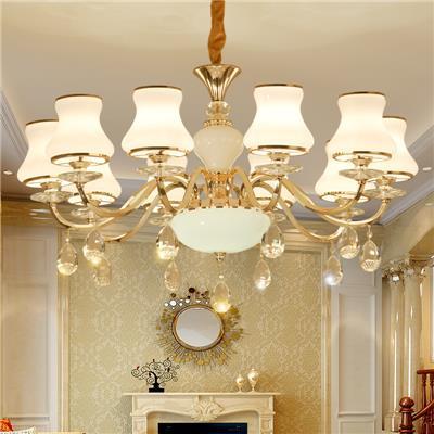 欧式水晶吊灯现代简约客厅美式铁艺奢华大气卧室创意餐厅8头灯具