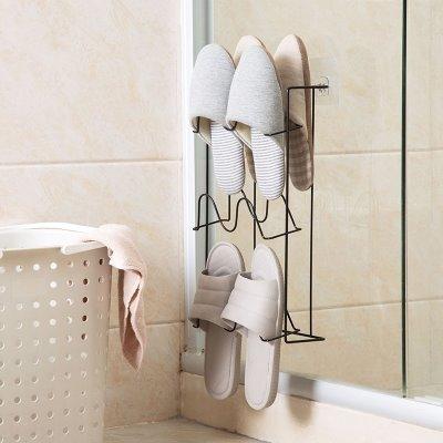 壁挂式鞋架拖鞋收纳架浴室鞋架简易家用免打孔卫生间宿舍放拖鞋架