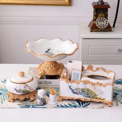 欧式果盘套装家用奢华创意家居客厅茶几装饰品摆件水果盘三件套