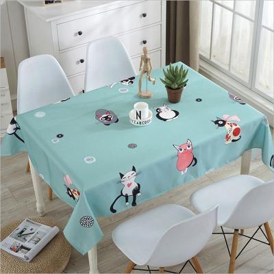 新款防水桌布卡通防尘布艺田园花中国风热转移印花布猫咪桌布防水