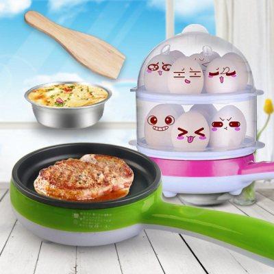 【买一送六】克美帝多功能插电电煎锅双层煮蛋器不粘锅