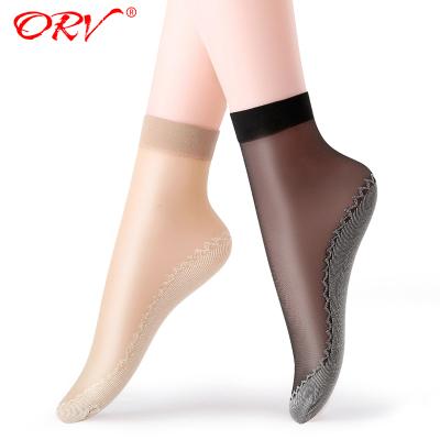 【ORV品牌 10双装】棉底丝袜脚底棉短袜 女超薄水晶面短丝袜 防滑
