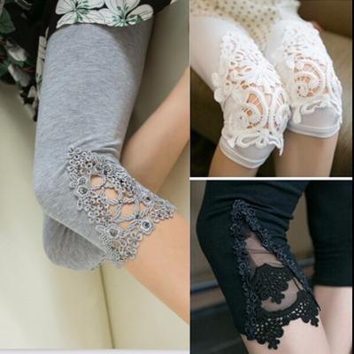 夏季莫代尔棉脚口蕾丝镂空七分九分裤打底裤女士高腰薄款外穿显瘦