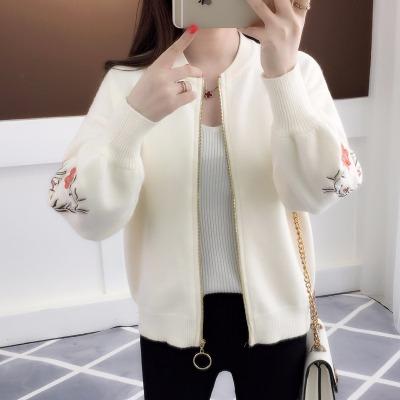 2019春装新款短款绣花外搭针织衫开衫宽松女装韩版拉链毛衣外套女