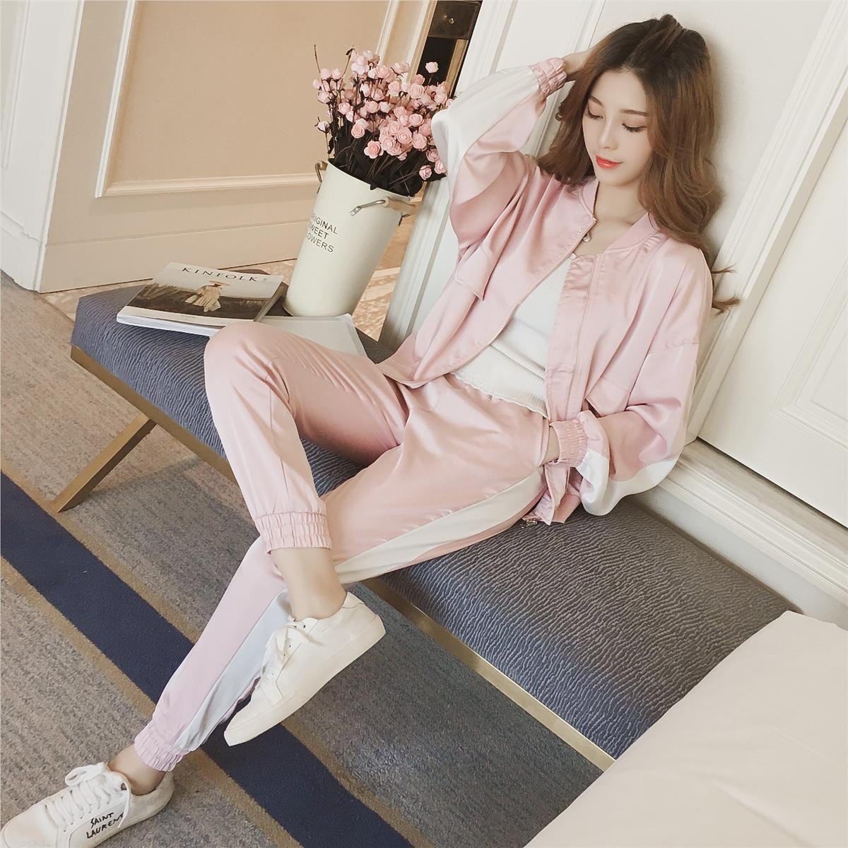2020春新款韩版长袖棒球服外套+哈伦裤休闲套装女装时髦两件套装