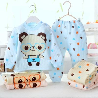 婴儿秋款保暖内衣三层保暖男女宝宝纯棉套装儿童夹棉保暖两件套