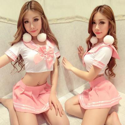 粉色蝴蝶结上衣+短裙+粉丝袜;面料 罗纹布;款式 其他;风格 学生服