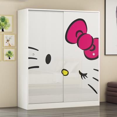 儿童衣柜推拉门2门简约现代经济型实木质卧室移门衣橱阳台储物柜